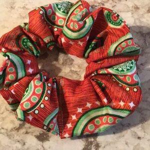 Red green Christmas medallions hair tie scrunchie